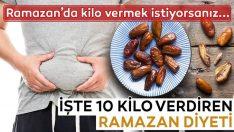Göbekten 10 Kilo Verdiren Ramazan Diyeti